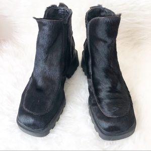 Bogner Canada Black Fur Ankle Boots Sz 9B
